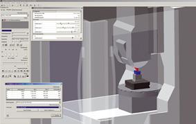 Workspace monitoring is available in the machine simulation as well as the machining and material removal simulation