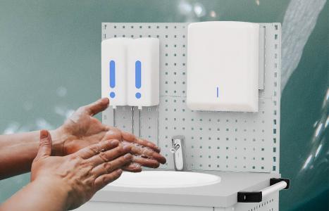 """Die """"Health Protecion Line"""" umfasst individuell konfigurierbare Produkte um Hygienemaßnahmen einzuhalten und Ansteckungsrisiken vermeiden zu können."""