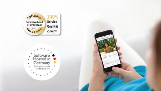 """DoorBird App mit dem Siegel """"Software Made in Germany"""" zertifiziert / Bildquelle: Bird Home Automation GmbH"""