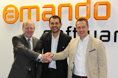 Left to right: Michael Drews, CEO amando software, Filip Krokowski, COMPAREX Executive Vice President Products, Christian Terwiel, COMPAREX Global Director Software Asset Management