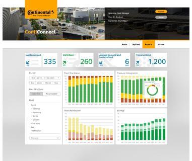 Das Online-Portal von ContiConnect stellt Berichte zur Performance der Reifen und zur Gesamteffizienz der Flotte bereit