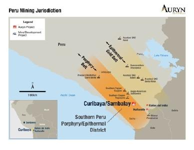 Figure 1: Illustrates the position of the Curibaya project with respect to the large copper porphyry mines in Southern Peru