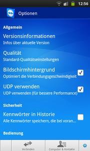 TeamViewer Android Optionen (www.teamviewer.com)