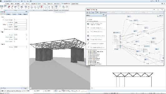 """In Allplan 2019-1 steht die Funktion des Visual Scriptings (VS) als Technical Preview zur Verfügung. Mithilfe der VS-Technologie wird die """"Designlogik"""" grafisch dargestellt, so dass komplexe Aufgaben leicht verständlich werden / Bild: ALLPLAN GmbH"""
