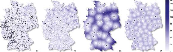 Verteilung der Impfzentren, je nach Szenario; die Gemeinden sind je nach Entfernung zum zugehörigen Impfzentrum gefärbt. Die Größe der Marker für Impfzentren ist abhängig von der Anzahl zu impfender Patienten / Bild: © Fraunhofer ITWM