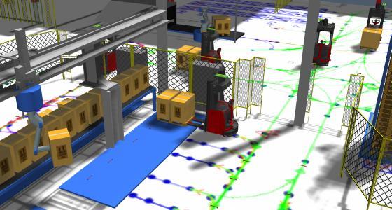 Mit dem von EK Automation erstellten 3D-Modell lassen sich verschiedene Transportstrategien simulieren