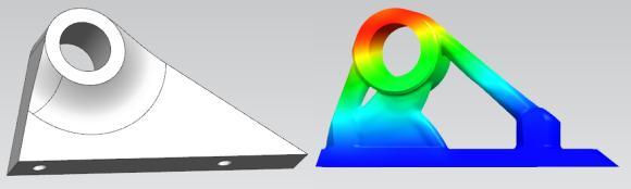 BU 0: Beispiel 1: Einfache Halterung zur Befestigung von Anbauteilen im Motorraum: Reduktion der Bauteilmasse von 50% bei gleicher Funktionalität und Haltbarkeit.