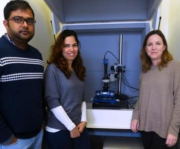 Die Studenten Dr. Priyadip Das und Sivan Yuran, sowie ihre Betreuerin Dr. Meital Reches, mit dem JPK NanoWizard® 3 AFM System an der Hebräischen Universität Jerusalem