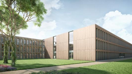 Entwurf für das neue Schulgebäude (Bildnachweis: ERNE AG Holzbau | Raumwerk & Spreen Architekten Arbeitsgemeinschaft)