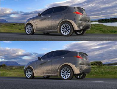 Verschmutzung an Seiten- und Rückfläche des Fahrzeugs vor der Aerodynamikoptimierung (oben) und danach (unten): Die Verschmutzung der Seitenflächen hat sich verringert, während die Verschmutzung des Hecks stärker geworden ist