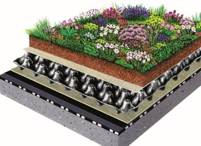This permanently reliable ZinCo system build-up consists of the following functional layers: protection mat, drainage layer, filter sheet, growing medium and plants, Photo: ZinCo