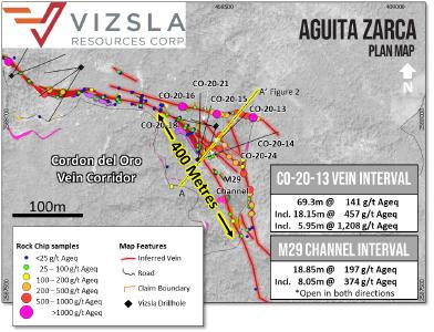 Figure 1: Plan view of the Aguita Zarca prospect with drill hole locations labelled, mapped geology and surface sampling locations