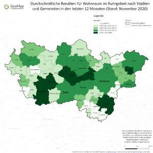 Durchschnittliche Renditen für Wohnraum im Ruhrgebiet nach Städten und Gemeinden in den letzten 12 Monaten.