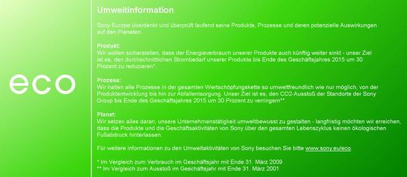 Sony Umweltinformationen
