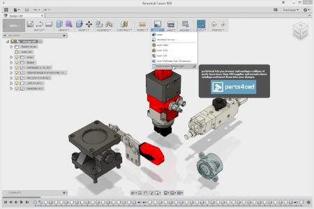 The 3D CAD model can be integrated into an existing design in Autodesk Fusion 360