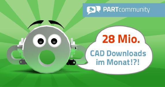 Das 3D CAD Modelle Downloadportal PARTcommunity von CADENAS erreicht über 28 Mio. CAD Modelle Downloads pro Monat
