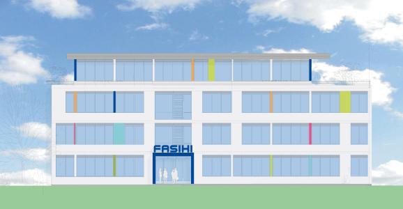 Bauzeichnung: Frontansicht des neuen Fasihi-Gebäudes
