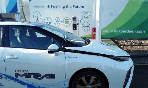 Ein mit Wasserstoff angetriebener Toyota Mirai