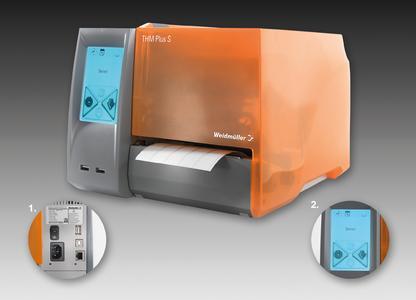 Weidmüller Thermotransferdrucker THM Plus S für die flexible Etikettenbeschriftung. Detail 1: Durch die Plug-and-play-ID wird der Drucker über den USB-Anschluss direkt erkannt und automatisch installiert. Detail 2: Das großzügige Touchdisplay gestattet eine intuitive Bedienung.