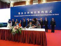 Eurocopter China and Wuhan Helicopter sign contract for the purchase of three helicopters on the occasion of a French ministerial visit