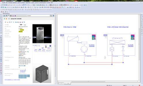 Projektierung eines Rittal Blue e+ Chillers mit Luft/Wasser Wärmetauscher für die Schaltschrankkühlung aus dem Eplan Data Portal, später Integration der Rittal-Dokumentation in die Gesamtdo-kumentation (Quelle: Eplan Software & Service GmbH & Co. KG )
