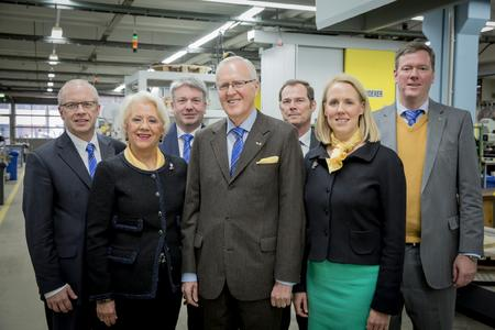 (from left to right): The management board of the HARTING Technology Group: Dr. Michael Puetz, Senior Vice President Human Resources, Facilities and Legal Affairs; Margrit Harting, Senior Vice President and Partner; Torsten Ratzmann, Senior Vice President Production and Logistics; Dietmar Harting, CEO; Dr. Frank Brode, Senior Vice President  New Technologies; Maresa Harting-Hertz, Senior Vice President Finance and Purchasing; and Philip F.W. Harting, Senior Vice President Connectivity & Networks; are optimistic concerning the future development of the company