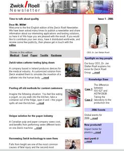 Zwick's Online-Newsletter ist published 3-4 times per year