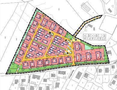 """Bebauungsplan des Neubaugebiets """"Am Bergle"""" in Schlier-Unterankenreute © KIENZLE VÖGELE BLASBERG GMBH"""