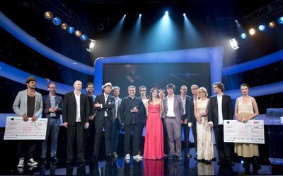 Preisträger Deutscher Kamerapreis 2013 (Maxine Goedicke 1. v. rechts, Sabine Brose 3. v. rechts,  Ioannis Mantatzis 3. v. links)