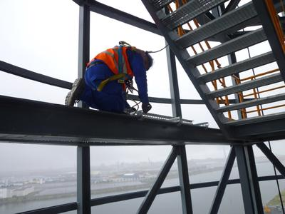 Electrical installation in the bucket conveyor tower