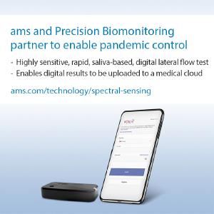 ams  & Precision Biomonitoring: global partnership to enable pandemic control through the development of a rapid saliva antigen testing device for Covid-19 (SARS-CoV-2); picture copyright: ams AG