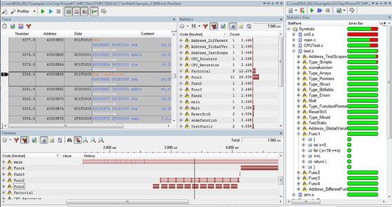 Trace Ergebnisse über JTAG (mit Slow Run)