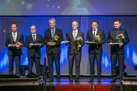 2015 finalists from Baden-Württemberg: Joachim Huber, General Manager of Peter Huber Kältemaschinenbau GmbH (far left), Marc Nagel, Owner of Nagel's Butcher's Shop; Dr. Oliver Schmidt, Partner of Menold Bezler Rechtsanwälte Partnerschaft mbH; Frank Ganssloser, General Manager of AVAT Automation GmbH; LGI Logistics Group International GmbH (photo: Oskar Patzelt Foundation, Andreas Schebesta)