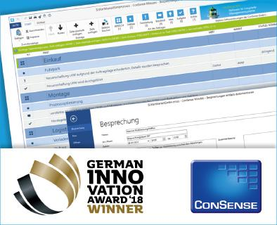 ConSense Minutes gewinnt German Innovation Award 2018: