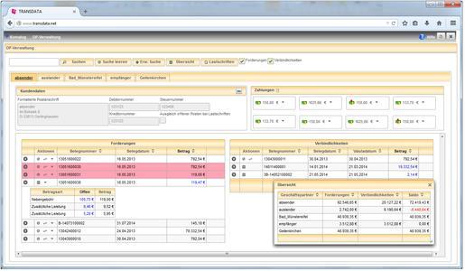 Mit dem Modul Offene-Posten-Verwaltung können Kunden tagesaktuell die Zahlungsströme überprüfen