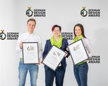 Kerstin Molzbichler and her team are happy about the triple at the German Design Award. In the picture from left: Leon Koopman (Team Design), Kerstin Molzbichler (Head of Team Design) and Doris Rausch (Team Design) / © W&H