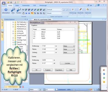 RxView/RxHighlight zeigt die Messergebnisse einer Kalibrierungs- und Vergleichs-Funktion