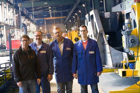"""The joining world will change dramatically"", Dipl.-Ing. Markus Leutloff, Production Manager (left). Next to him: Wilfried Nowatzki (master welder), Reinhard Hansemann (quality) and Oliver Tunger (quality) (Photo: EWM)"