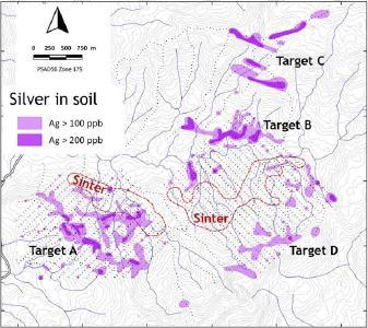 Abbildung 1. Karte mit den Positionen der Yawi-Bodenproben (schwarze Punkte) und der Silberverteilung im Boden mit topografischen Konturen