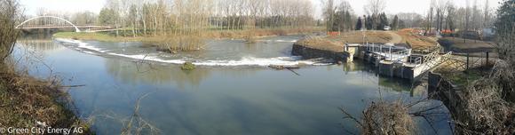 Einlaufbauwerk des unterirdischen Kleinwasserkraftwerks Pellerina  in Turin von Green City Energy