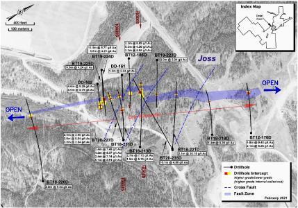 Plan View of the High-Grade Underground Target at Beartrack-Arnett