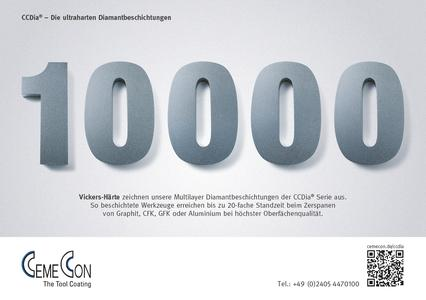 Our Multilayer Diamond coatings of the CCDia® series stand out due to 10.000 Vickers hardness. Diamond-multilayer coated tools can be used up to 20 times longer while still delivering the highest surface quality when it comes to the machining of graphite, CFRP, GFRP or aluminium.