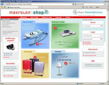 Screenshot Makrolon Online-Shop