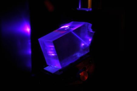 Optisches Modul als Plattform für die Mikro-Nanointegration für Optische Gassensoren mit eingekoppeltem Laserstrahl zum optischen Auslesen des Messsignals / (© Roman Kleindienst/TU Ilmenau
