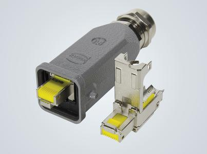The new preLink® RJ45 module for the well-known Han® 3 A industrial connectors