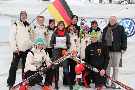 The German national team at the first World Deaf Alpine Skiing Championships, all supplied with power one hearing aid batteries