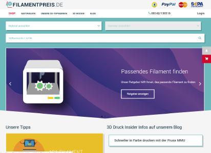 Auf Filamentpreis.de gibt es einen gut bestückten Filament-Shop und Informationen zum Thema 3D-Druck