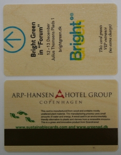 Hotel key cards made of wood