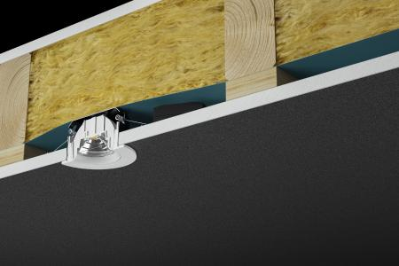 Thanks to its integrated box, the new INDIWO spot from Brumberg can be placed directly against the insulating material