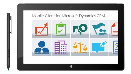Main Screen des Windows 8.1 Mobile Client for Microsoft Dynamics ...